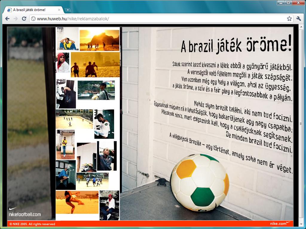 Nike reklámzabálók microsite